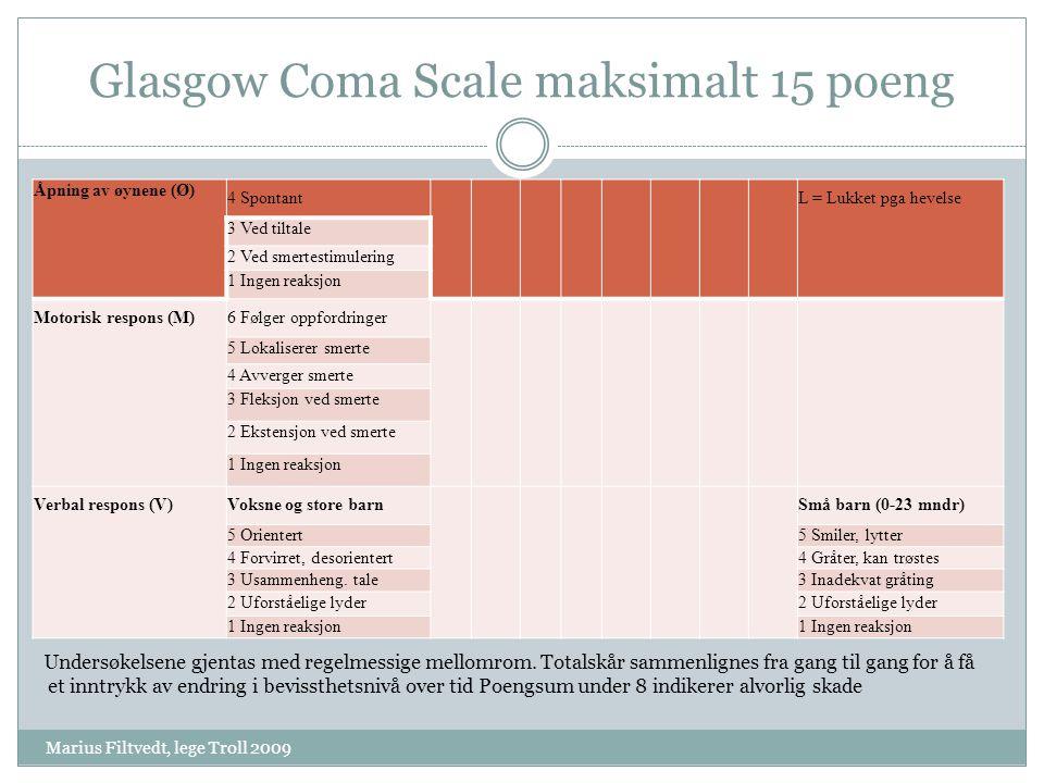 Glasgow Coma Scale maksimalt 15 poeng Marius Filtvedt, lege Troll 2009 Åpning av øynene (Ø) 4 Spontant L = Lukket pga hevelse 3 Ved tiltale 2 Ved smer