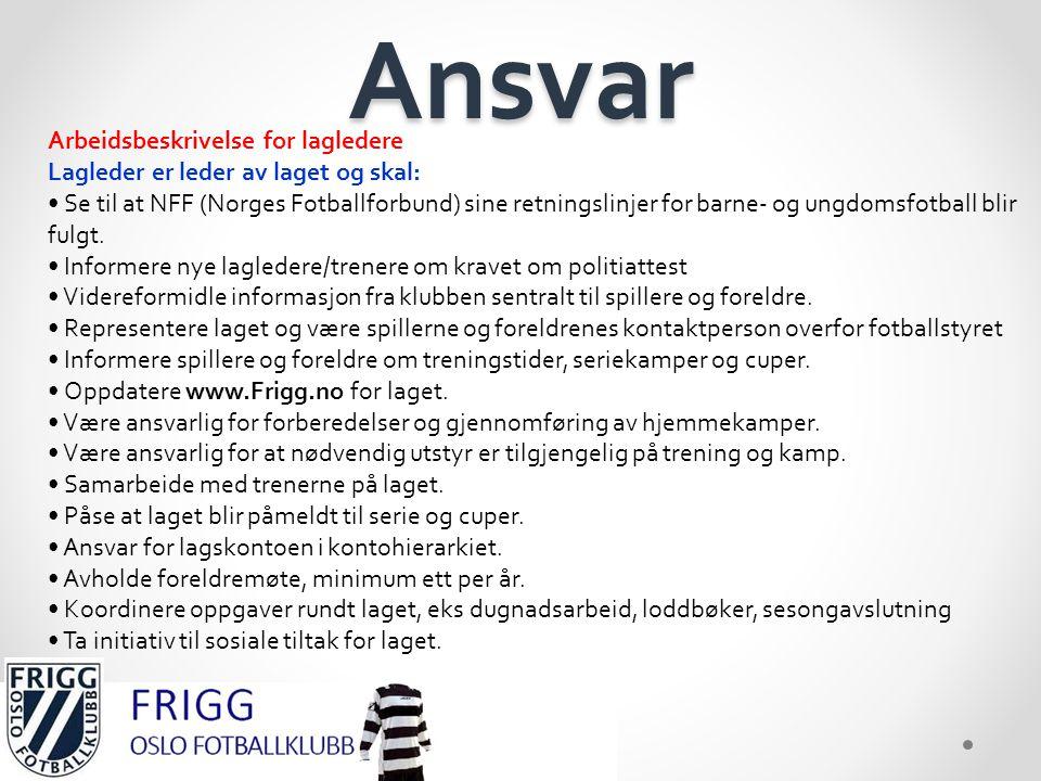 Ansvar Arbeidsbeskrivelse for lagledere Lagleder er leder av laget og skal: • Se til at NFF (Norges Fotballforbund) sine retningslinjer for barne- og