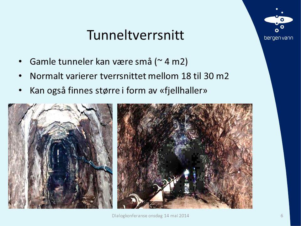 Tunneltverrsnitt • Gamle tunneler kan være små (~ 4 m2) • Normalt varierer tverrsnittet mellom 18 til 30 m2 • Kan også finnes større i form av «fjellh