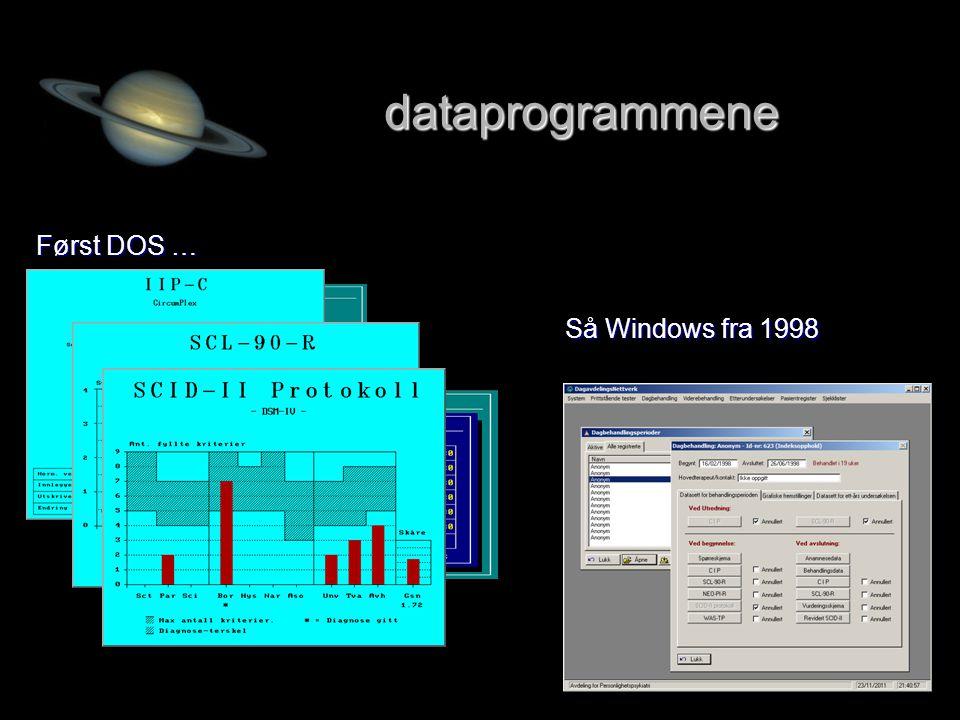 dataprogrammene Først DOS … Så Windows fra 1998