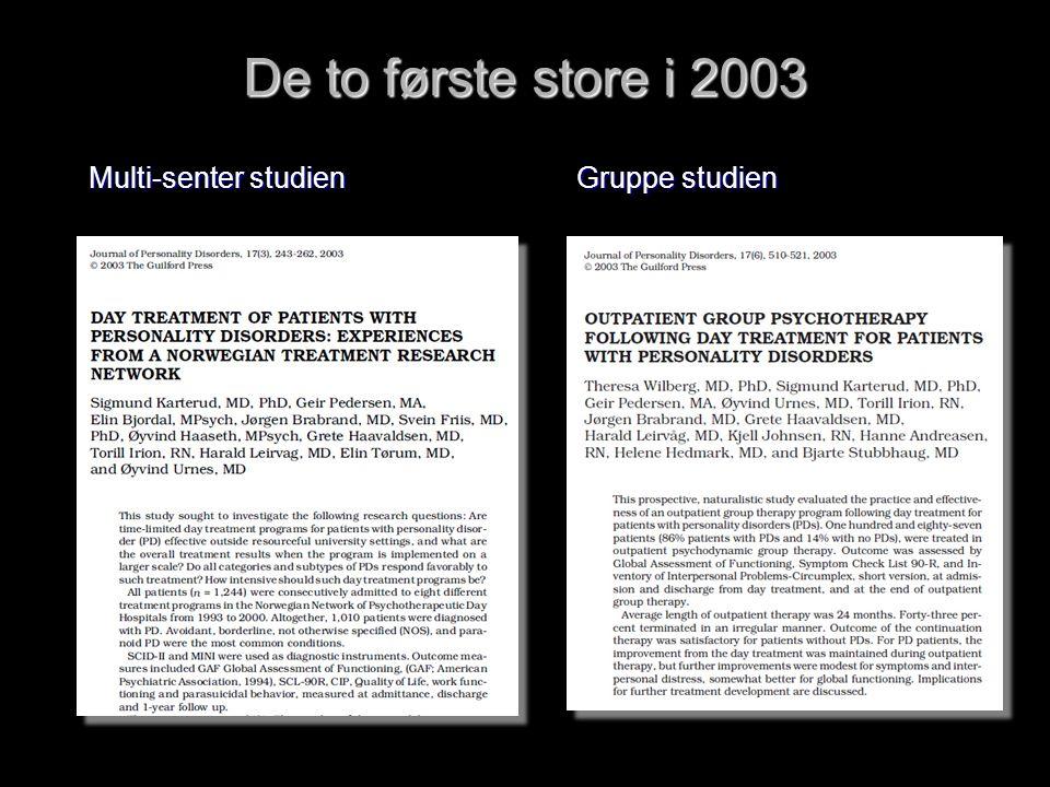 De to første store i 2003 Multi-senter studien Gruppe studien