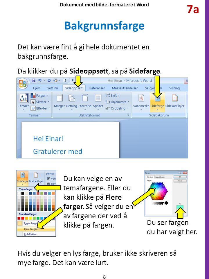 Det kan være fint å gi hele dokumentet en bakgrunnsfarge. da klikker