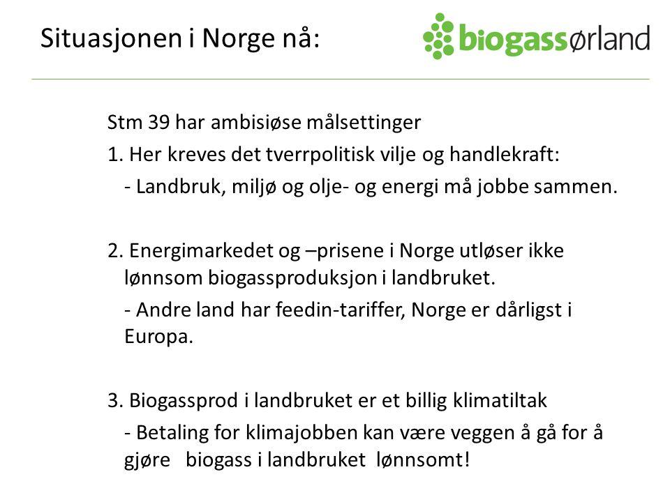 Situasjonen i Norge nå: Stm 39 har ambisiøse målsettinger 1. Her kreves det tverrpolitisk vilje og handlekraft: - Landbruk, miljø og olje- og energi m