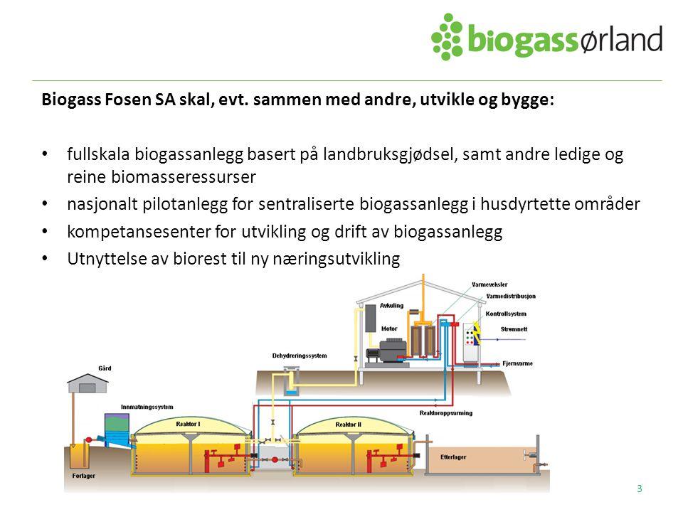 Biogass Fosen SA skal, evt. sammen med andre, utvikle og bygge: • fullskala biogassanlegg basert på landbruksgjødsel, samt andre ledige og reine bioma