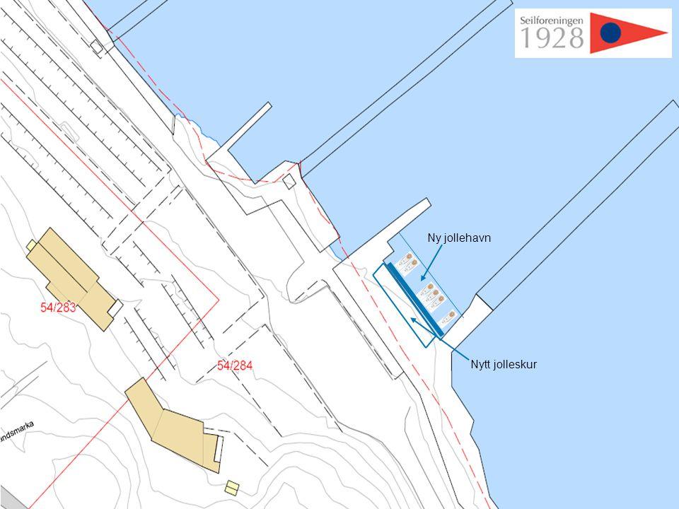 Forslag til plassering: Se illustrasjon i blått. Krever oppgradering av fundament/ brygge.