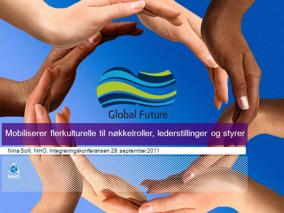Mobiliserer flerkulturelle til nøkkelroller, lederstillinger og styrer Nina Solli, NHO, Integreringskonferansen 28. september 2011