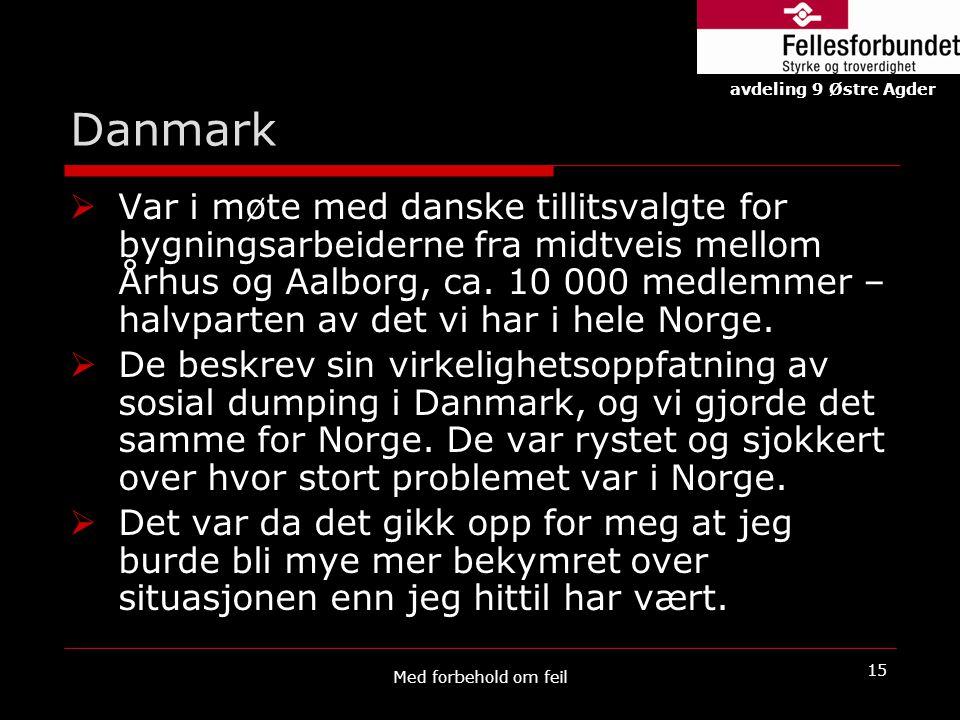 Danmark  Var i møte med danske tillitsvalgte for bygningsarbeiderne fra midtveis mellom Århus og Aalborg, ca. 10 000 medlemmer – halvparten av det vi