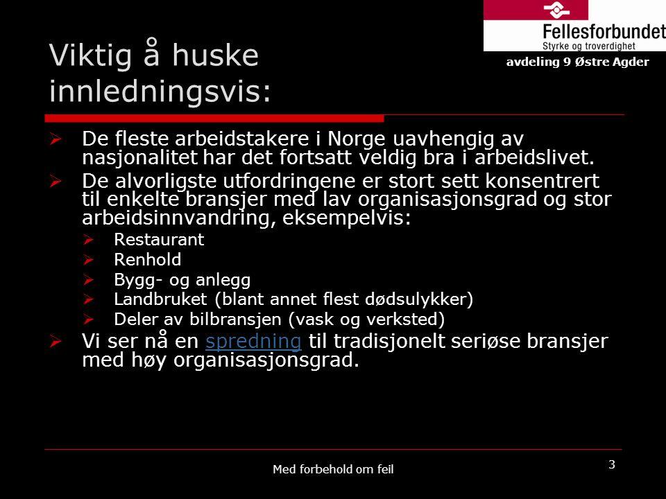 Viktig å huske innledningsvis:  De fleste arbeidstakere i Norge uavhengig av nasjonalitet har det fortsatt veldig bra i arbeidslivet.  De alvorligst