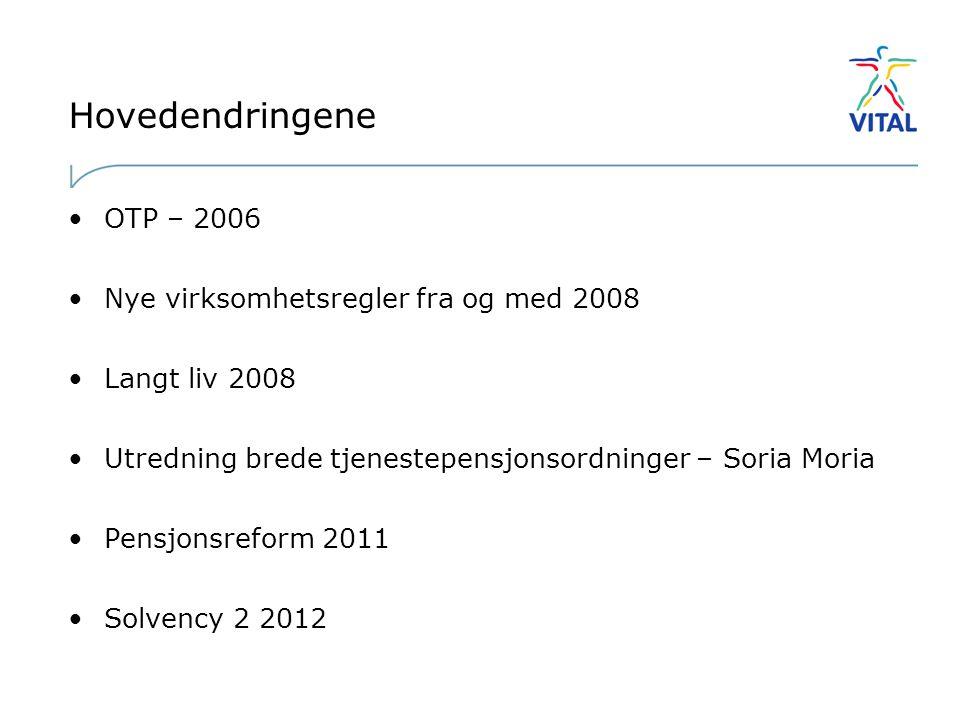 Hovedendringene •OTP – 2006 •Nye virksomhetsregler fra og med 2008 •Langt liv 2008 •Utredning brede tjenestepensjonsordninger – Soria Moria •Pensjonsreform 2011 •Solvency 2 2012
