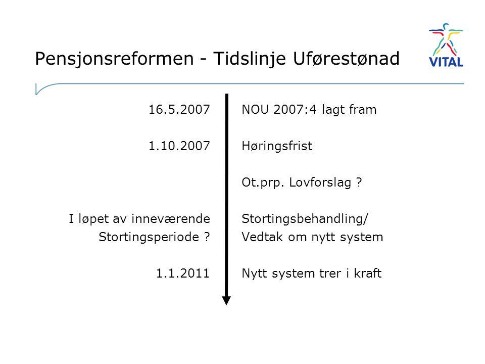 Pensjonsreformen - Tidslinje Uførestønad 16.5.2007 1.10.2007 I løpet av inneværende Stortingsperiode .