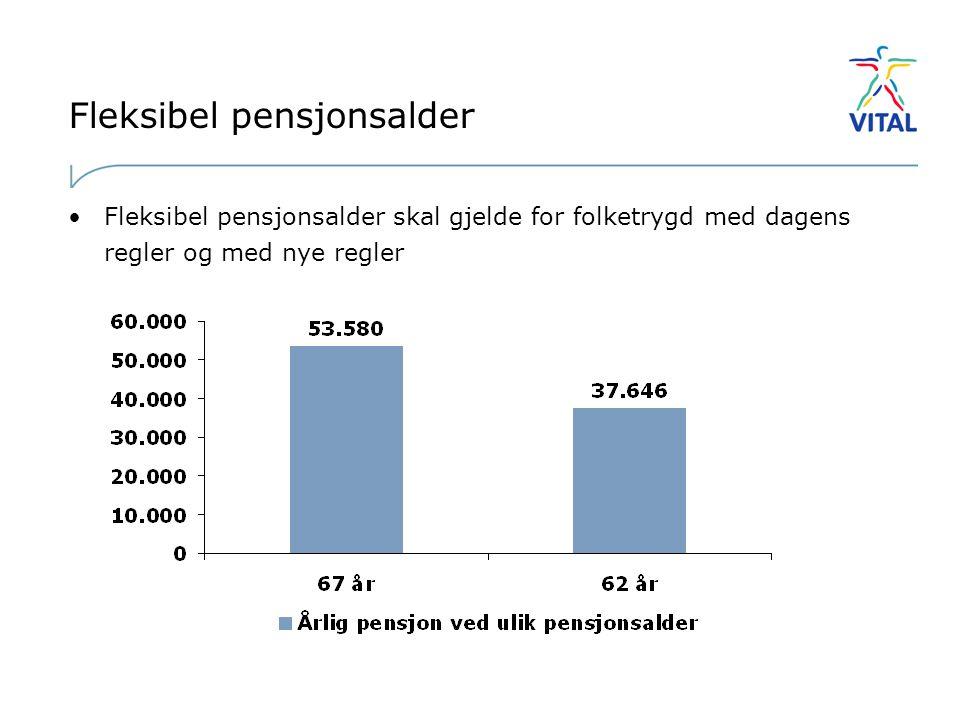 Fleksibel pensjonsalder •Fleksibel pensjonsalder skal gjelde for folketrygd med dagens regler og med nye regler