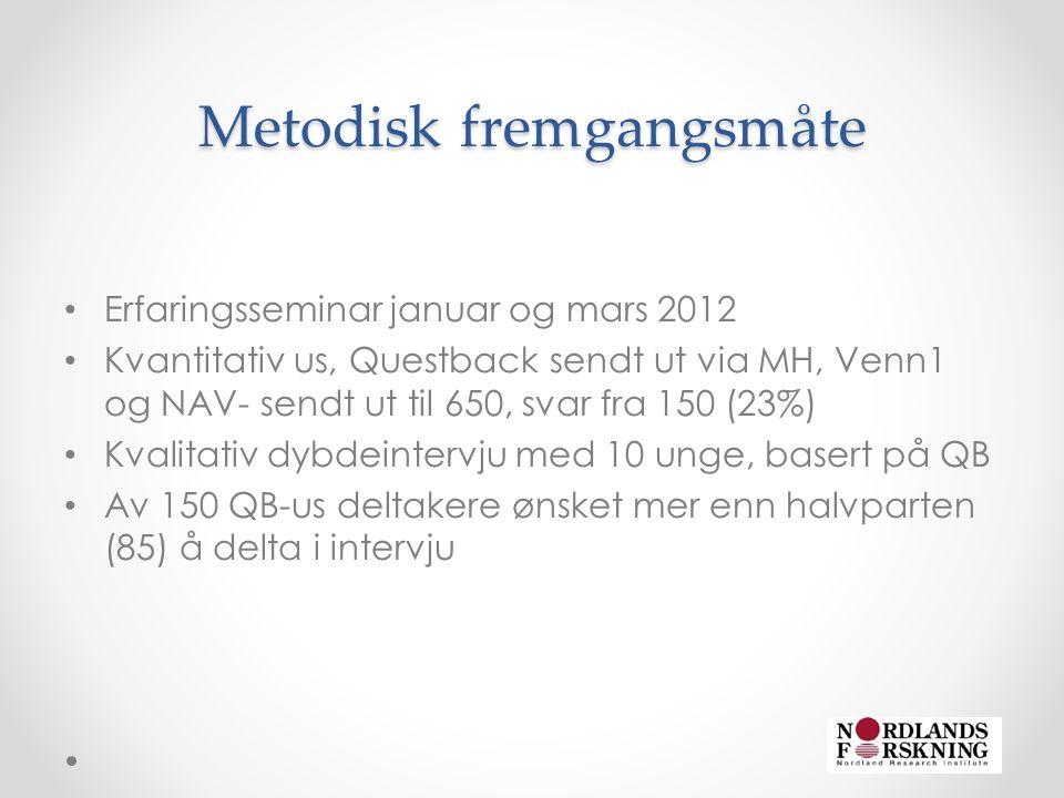 Metodisk fremgangsmåte • Erfaringsseminar januar og mars 2012 • Kvantitativ us, Questback sendt ut via MH, Venn1 og NAV- sendt ut til 650, svar fra 150 (23%) • Kvalitativ dybdeintervju med 10 unge, basert på QB • Av 150 QB-us deltakere ønsket mer enn halvparten (85) å delta i intervju