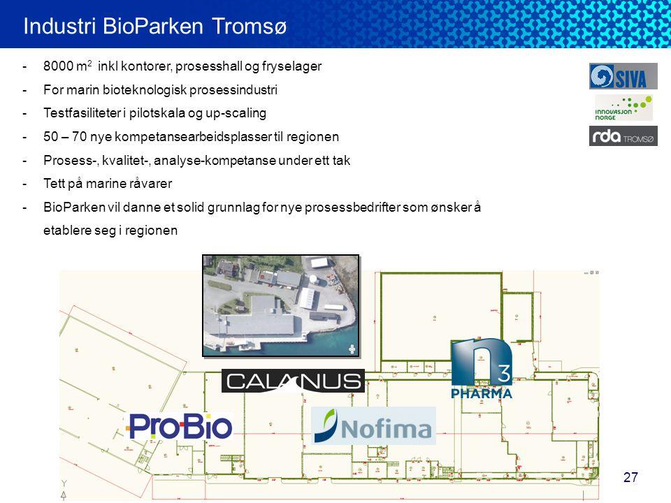 27 Industri BioParken Tromsø -8000 m 2 inkl kontorer, prosesshall og fryselager -For marin bioteknologisk prosessindustri -Testfasiliteter i pilotskal