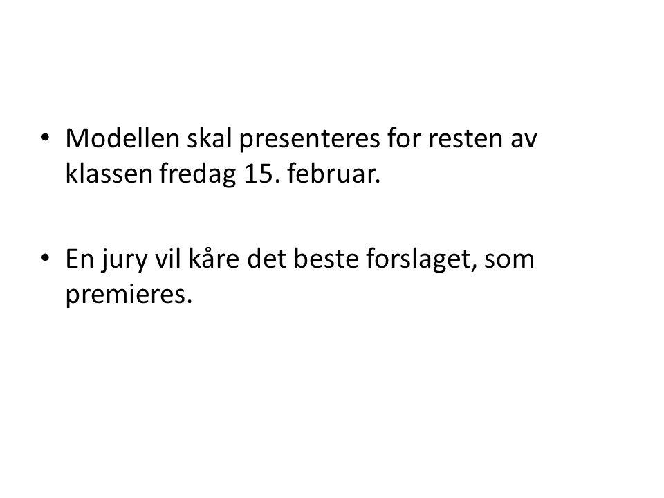 • Modellen skal presenteres for resten av klassen fredag 15. februar. • En jury vil kåre det beste forslaget, som premieres.