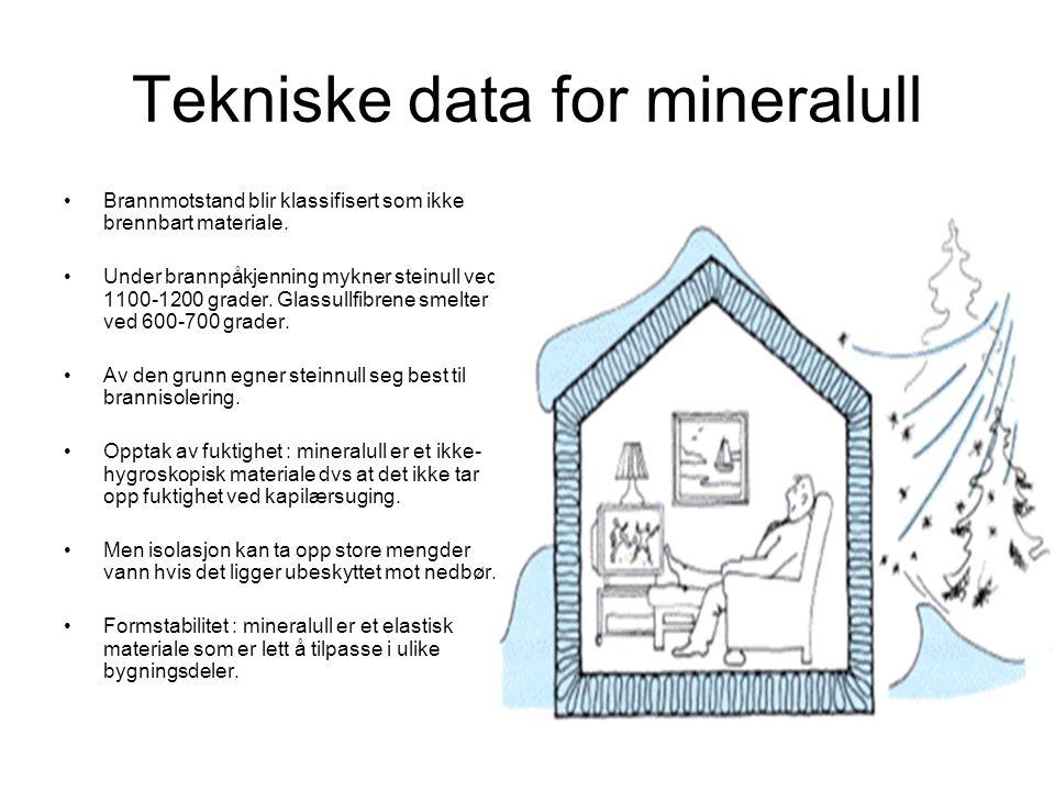 Tekniske data for mineralull •Brannmotstand blir klassifisert som ikke brennbart materiale. •Under brannpåkjenning mykner steinull ved 1100-1200 grade