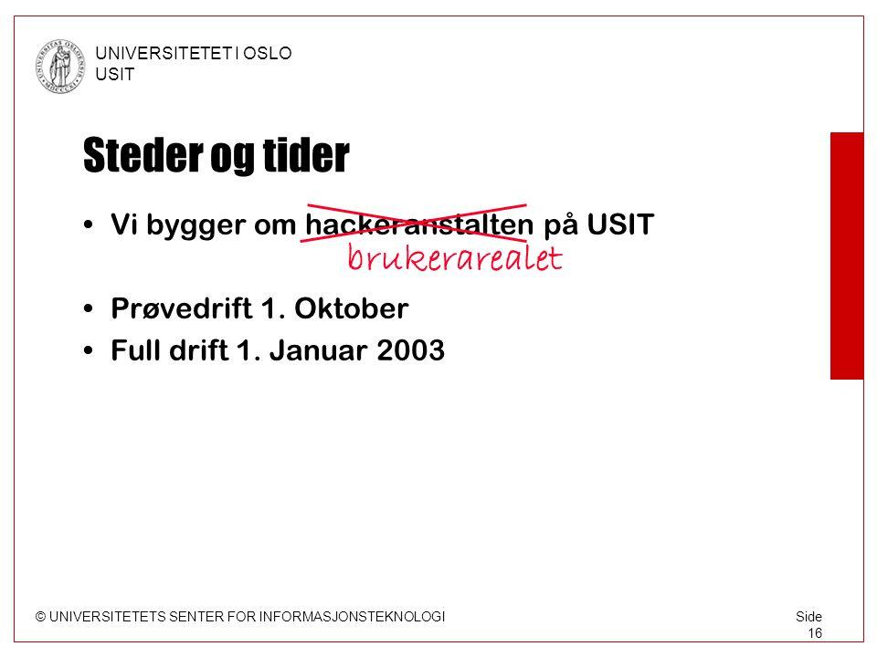 © UNIVERSITETETS SENTER FOR INFORMASJONSTEKNOLOGI UNIVERSITETET I OSLO USIT Side 16 Steder og tider •Vi bygger om hackeranstalten på USIT brukerarealet •Prøvedrift 1.