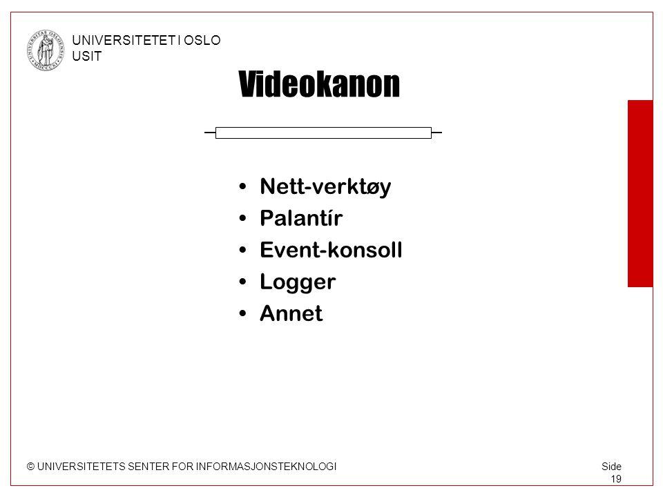 © UNIVERSITETETS SENTER FOR INFORMASJONSTEKNOLOGI UNIVERSITETET I OSLO USIT Side 19 Videokanon •Nett-verktøy •Palantír •Event-konsoll •Logger •Annet