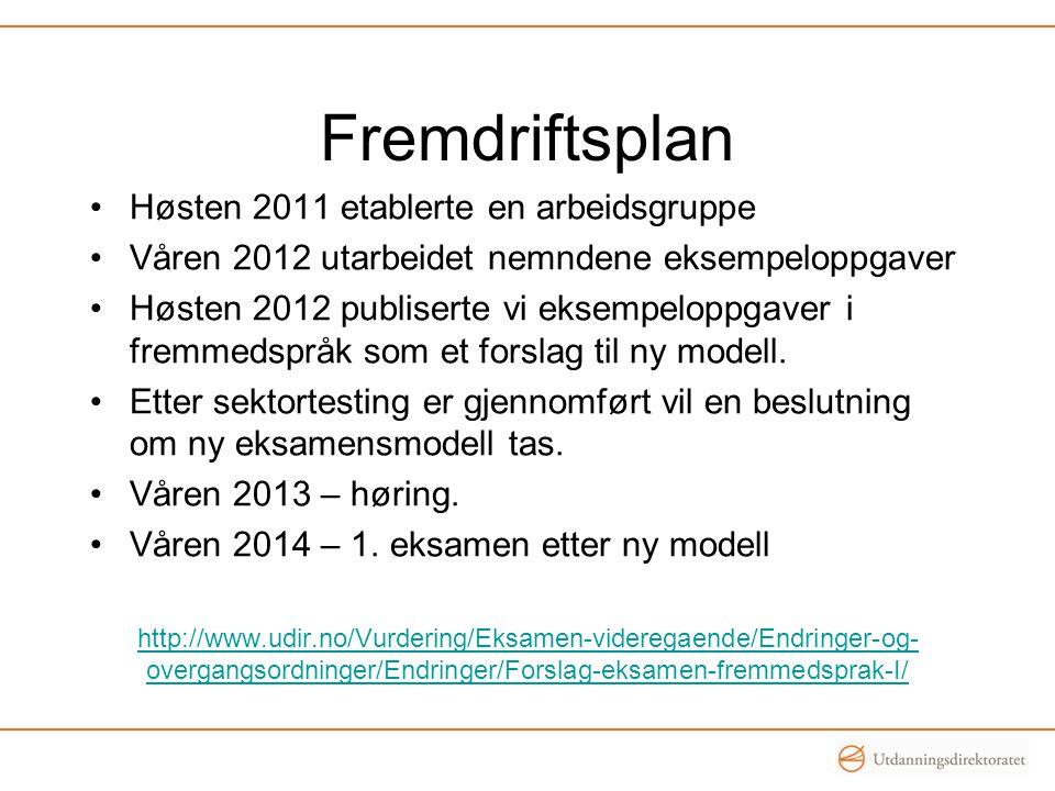 Fremdriftsplan •Høsten 2011 etablerte en arbeidsgruppe •Våren 2012 utarbeidet nemndene eksempeloppgaver •Høsten 2012 publiserte vi eksempeloppgaver i