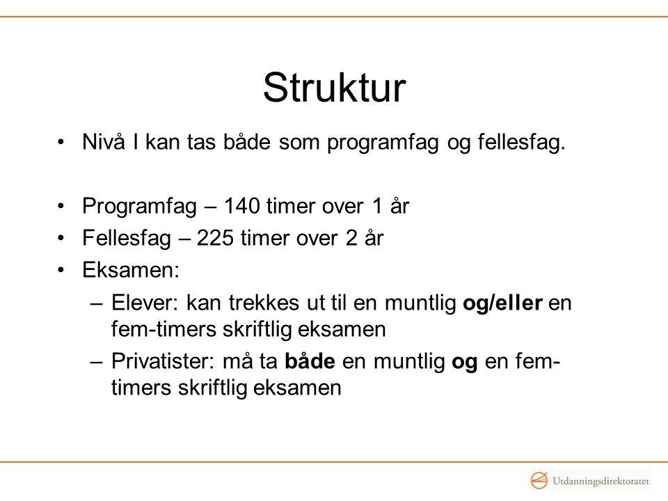 Struktur •Nivå I kan tas både som programfag og fellesfag. •Programfag – 140 timer over 1 år •Fellesfag – 225 timer over 2 år •Eksamen: –Elever: kan t
