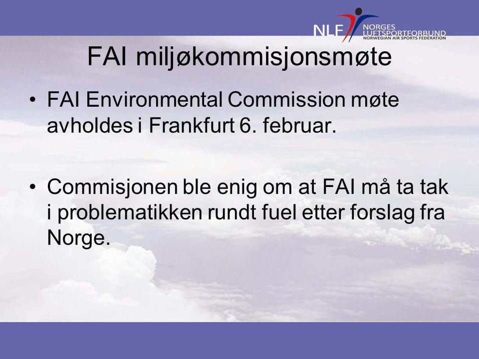 FAI miljøkommisjonsmøte •FAI Environmental Commission møte avholdes i Frankfurt 6.
