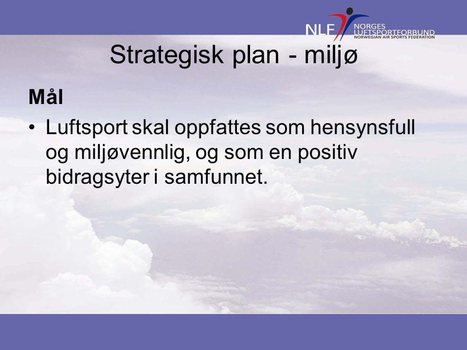 Strategisk plan - miljø Mål •Luftsport skal oppfattes som hensynsfull og miljøvennlig, og som en positiv bidragsyter i samfunnet.
