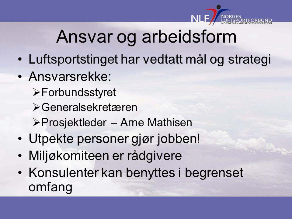 Ansvar og arbeidsform •Luftsportstinget har vedtatt mål og strategi •Ansvarsrekke:  Forbundsstyret  Generalsekretæren  Prosjektleder – Arne Mathisen •Utpekte personer gjør jobben.
