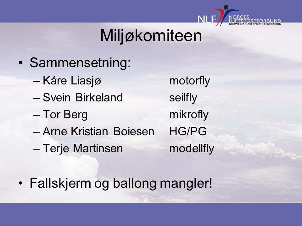 Miljøkomiteen •Sammensetning: –Kåre Liasjømotorfly –Svein Birkelandseilfly –Tor Bergmikrofly –Arne Kristian BoiesenHG/PG –Terje Martinsenmodellfly •Fallskjerm og ballong mangler!