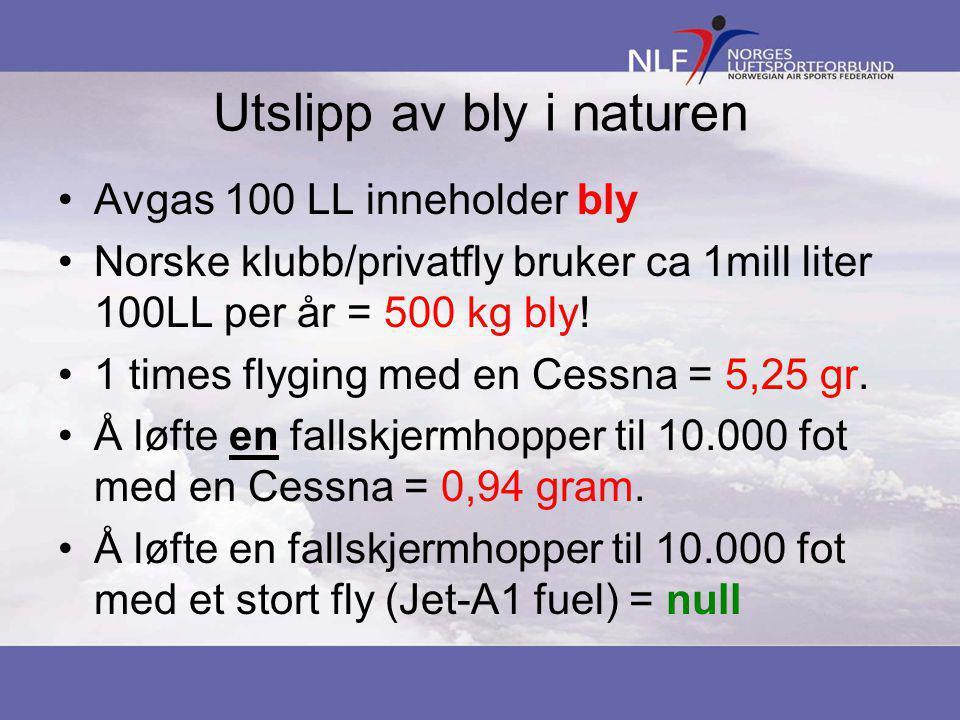 Utslipp av bly i naturen •Avgas 100 LL inneholder bly •Norske klubb/privatfly bruker ca 1mill liter 100LL per år = 500 kg bly.