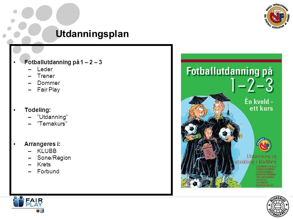 Utdanningsplan •Fotballutdanning på 1 – 2 – 3 –Leder –Trener –Dommer –Fair Play •Todeling: – Utdanning – Temakurs •Arrangeres i: –KLUBB –Sone/Region –Krets –Forbund