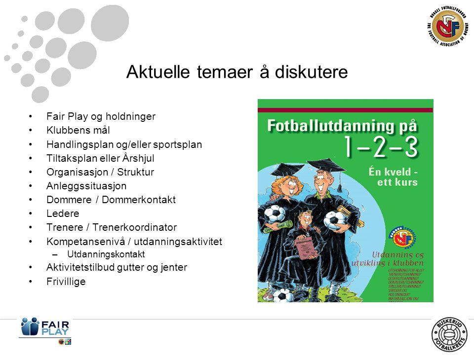 Aktuelle temaer å diskutere •Fair Play og holdninger •Klubbens mål •Handlingsplan og/eller sportsplan •Tiltaksplan eller Årshjul •Organisasjon / Struktur •Anleggssituasjon •Dommere / Dommerkontakt •Ledere •Trenere / Trenerkoordinator •Kompetansenivå / utdanningsaktivitet –Utdanningskontakt •Aktivitetstilbud gutter og jenter •Frivillige