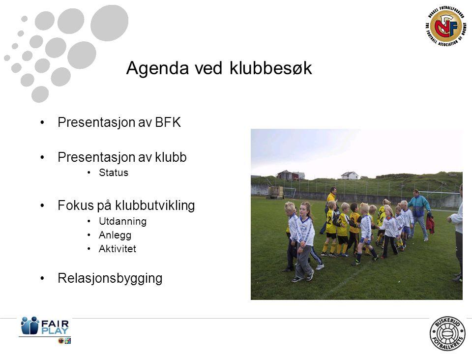 Agenda ved klubbesøk •Presentasjon av BFK •Presentasjon av klubb •Status •Fokus på klubbutvikling •Utdanning •Anlegg •Aktivitet •Relasjonsbygging