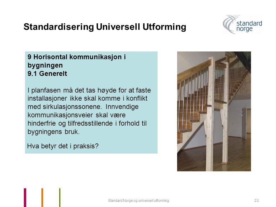 Standard Norge og universell utforming21 Standardisering Universell Utforming 9 Horisontal kommunikasjon i bygningen 9.1 Generelt I planfasen må det tas høyde for at faste installasjoner ikke skal komme i konflikt med sirkulasjonssonene.