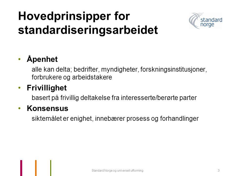 Standard Norge og universell utforming14 Standardisering Universell Utforming 4.2 Bevegelse og forflytning Denne standarden er basert på de kravene til bygninger og omgivelser som bruk av manuelle - eller elektriske rullestoler for innendørs og utendørs bruk medfører.