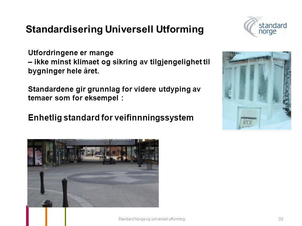 Standard Norge og universell utforming32 Standardisering Universell Utforming Utfordringene er mange – ikke minst klimaet og sikring av tilgjengelighet til bygninger hele året.
