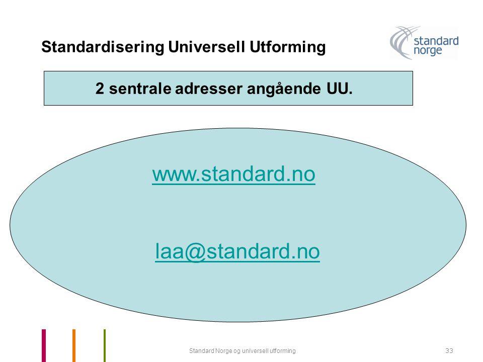 Standard Norge og universell utforming33 Standardisering Universell Utforming www.standard.no laa@standard.no 2 sentrale adresser angående UU.