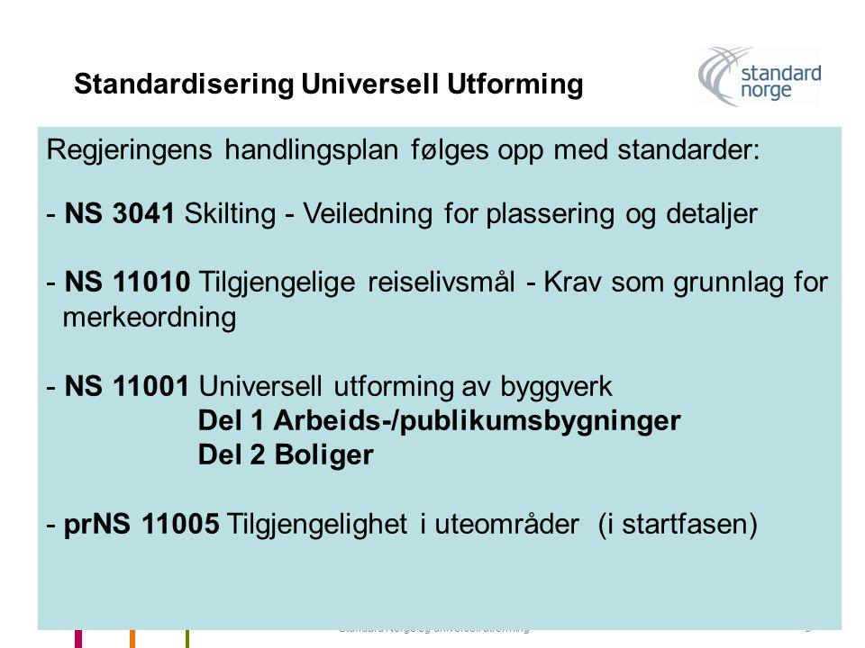 Standard Norge og universell utforming5 Standardisering Universell Utforming Regjeringens handlingsplan følges opp med standarder: - NS 3041 Skilting - Veiledning for plassering og detaljer - NS 11010 Tilgjengelige reiselivsmål - Krav som grunnlag for merkeordning - NS 11001 Universell utforming av byggverk Del 1 Arbeids-/publikumsbygninger Del 2 Boliger - prNS 11005 Tilgjengelighet i uteområder (i startfasen)