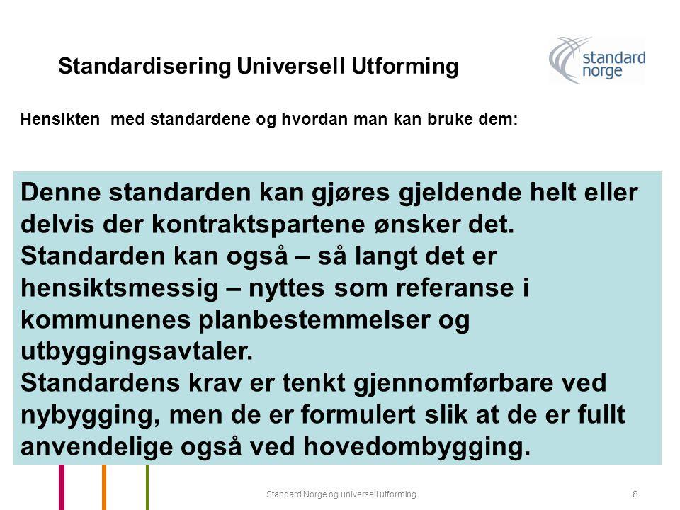 Standard Norge og universell utforming29 Standardisering Universell Utforming Akustiske forhold i ulike rom Med riktig etterklangstid i rom der flere personer skal kommunisere, kan man sikre god forståelse av tale (for eksempel møterom, undervisningsrom, auditorier, kantiner).