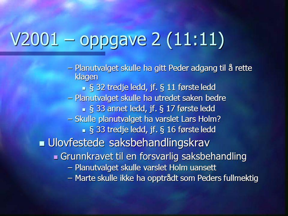 V2001 – oppgave 2 (11:11) –Planutvalget skulle ha gitt Peder adgang til å rette klagen  § 32 tredje ledd, jf. § 11 første ledd –Planutvalget skulle h