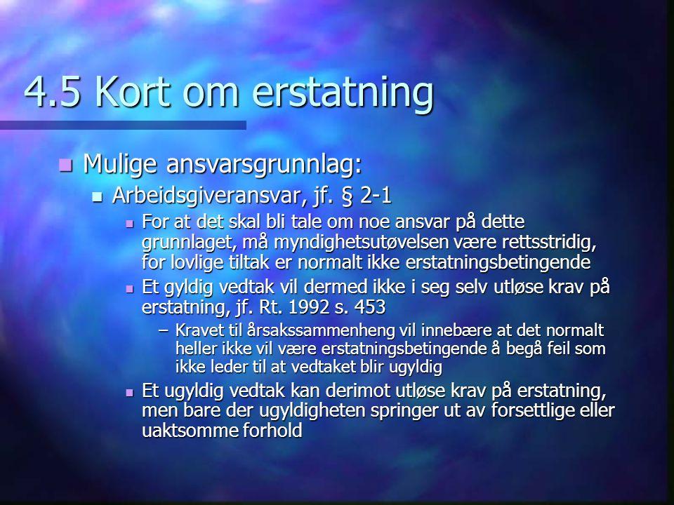 4.5 Kort om erstatning  Mulige ansvarsgrunnlag:  Arbeidsgiveransvar, jf.