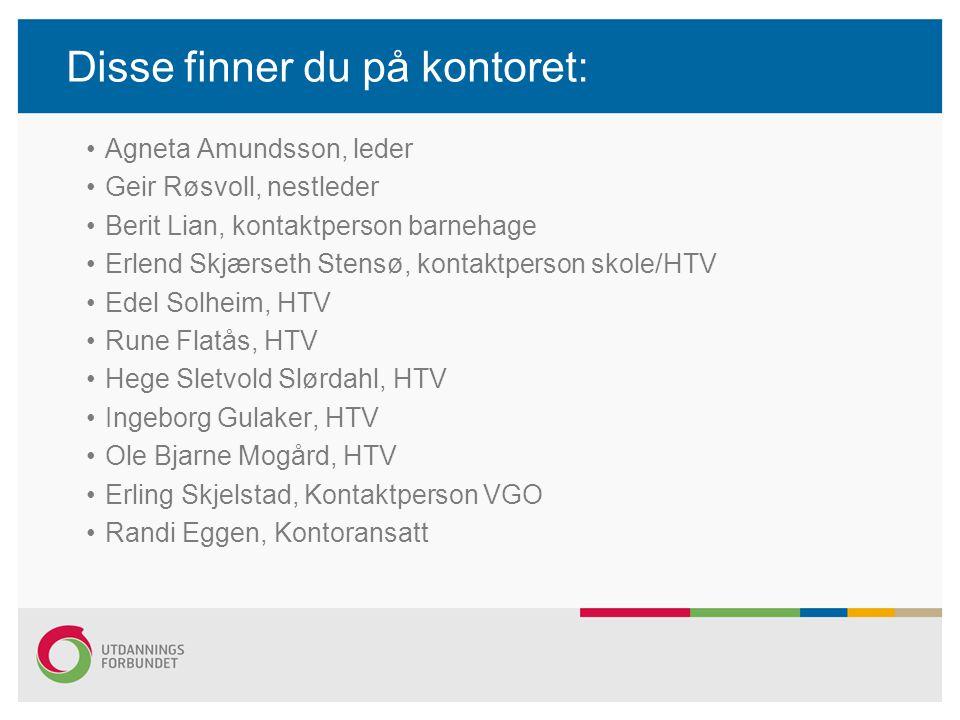 Disse finner du på kontoret: •Agneta Amundsson, leder •Geir Røsvoll, nestleder •Berit Lian, kontaktperson barnehage •Erlend Skjærseth Stensø, kontaktp
