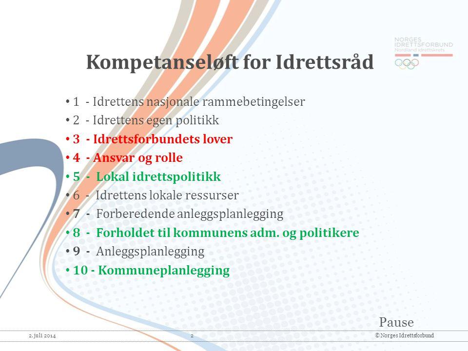 Pause 2. juli 2014 2© Norges Idrettsforbund • 1 - Idrettens nasjonale rammebetingelser • 2 - Idrettens egen politikk • 3 - Idrettsforbundets lover • 4