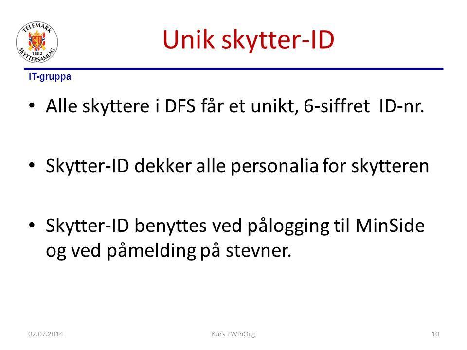 IT-gruppa Unik skytter-ID • Alle skyttere i DFS får et unikt, 6-siffret ID-nr. • Skytter-ID dekker alle personalia for skytteren • Skytter-ID benyttes