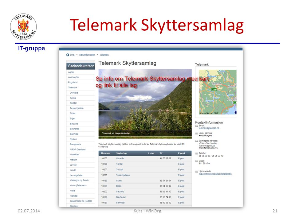 IT-gruppa Telemark Skyttersamlag 02.07.2014Kurs i WinOrg21