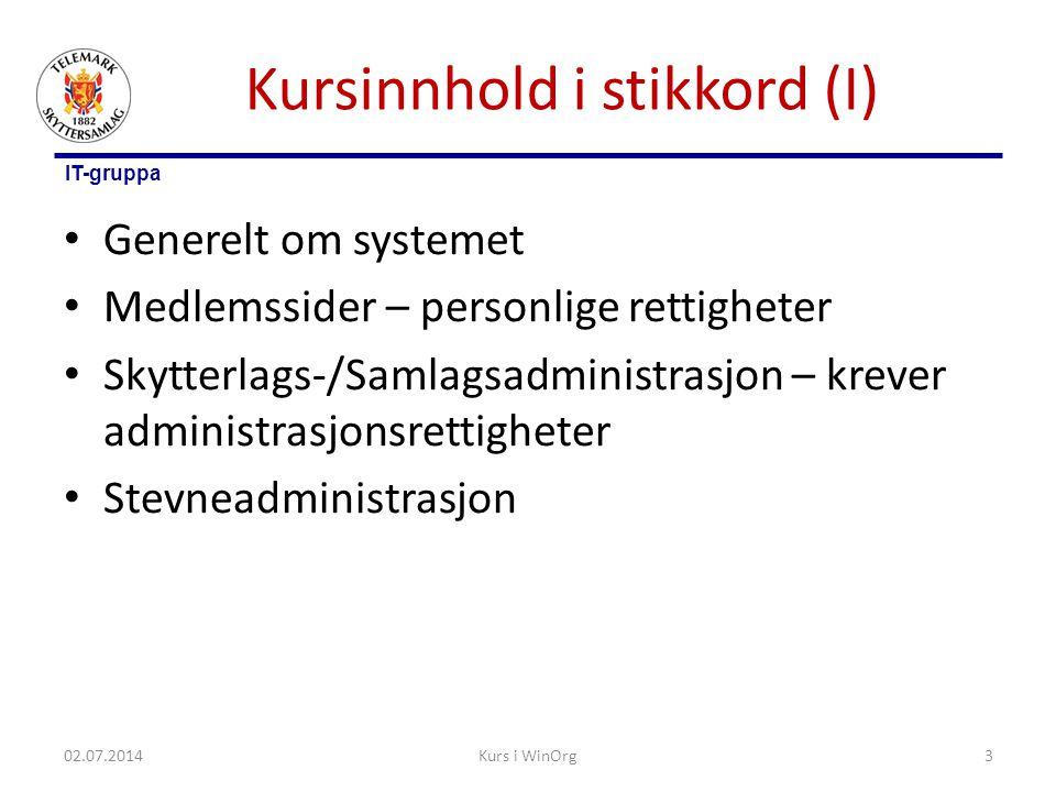 IT-gruppa Kursinnhold i stikkord (I) • Generelt om systemet • Medlemssider – personlige rettigheter • Skytterlags-/Samlagsadministrasjon – krever admi