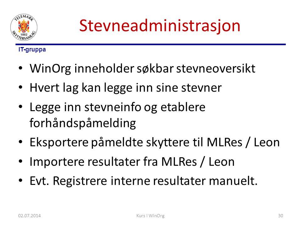 IT-gruppa Stevneadministrasjon • WinOrg inneholder søkbar stevneoversikt • Hvert lag kan legge inn sine stevner • Legge inn stevneinfo og etablere for