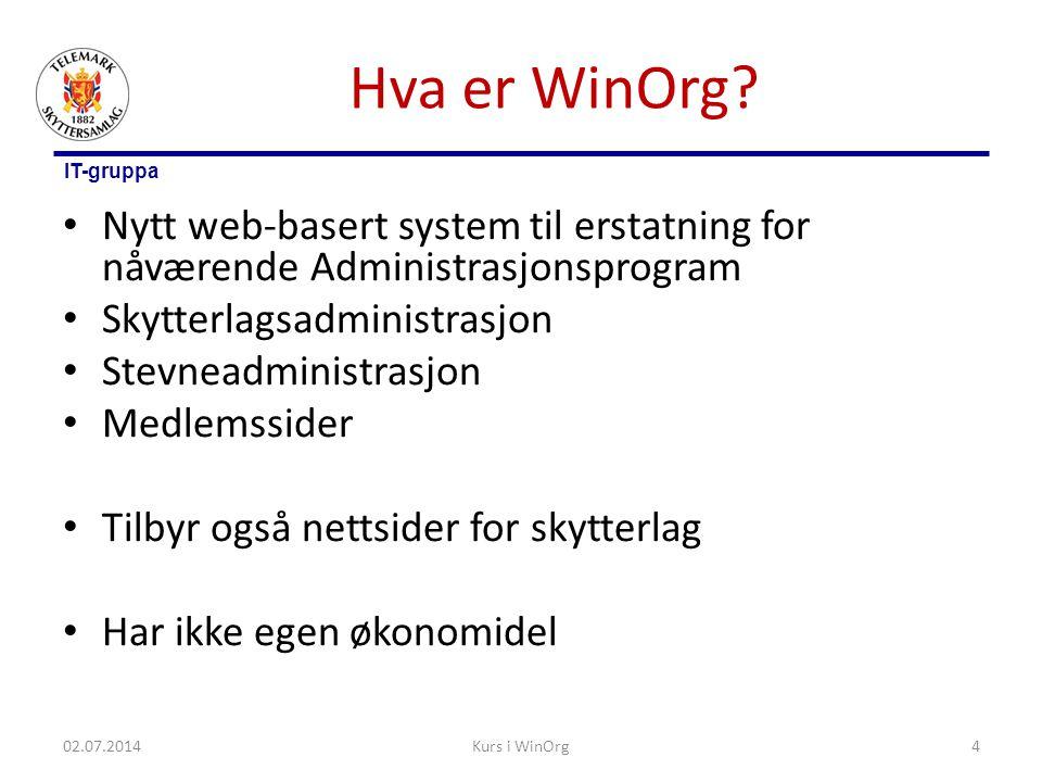 IT-gruppa Hva er WinOrg? • Nytt web-basert system til erstatning for nåværende Administrasjonsprogram • Skytterlagsadministrasjon • Stevneadministrasj