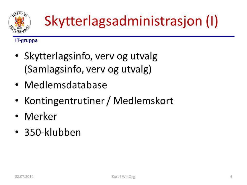 IT-gruppa Skytterlagsadministrasjon (I) • Skytterlagsinfo, verv og utvalg (Samlagsinfo, verv og utvalg) • Medlemsdatabase • Kontingentrutiner / Medlem