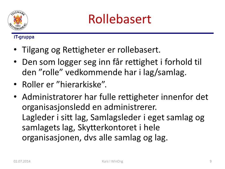 """IT-gruppa Rollebasert • Tilgang og Rettigheter er rollebasert. • Den som logger seg inn får rettighet i forhold til den """"rolle"""" vedkommende har i lag/"""