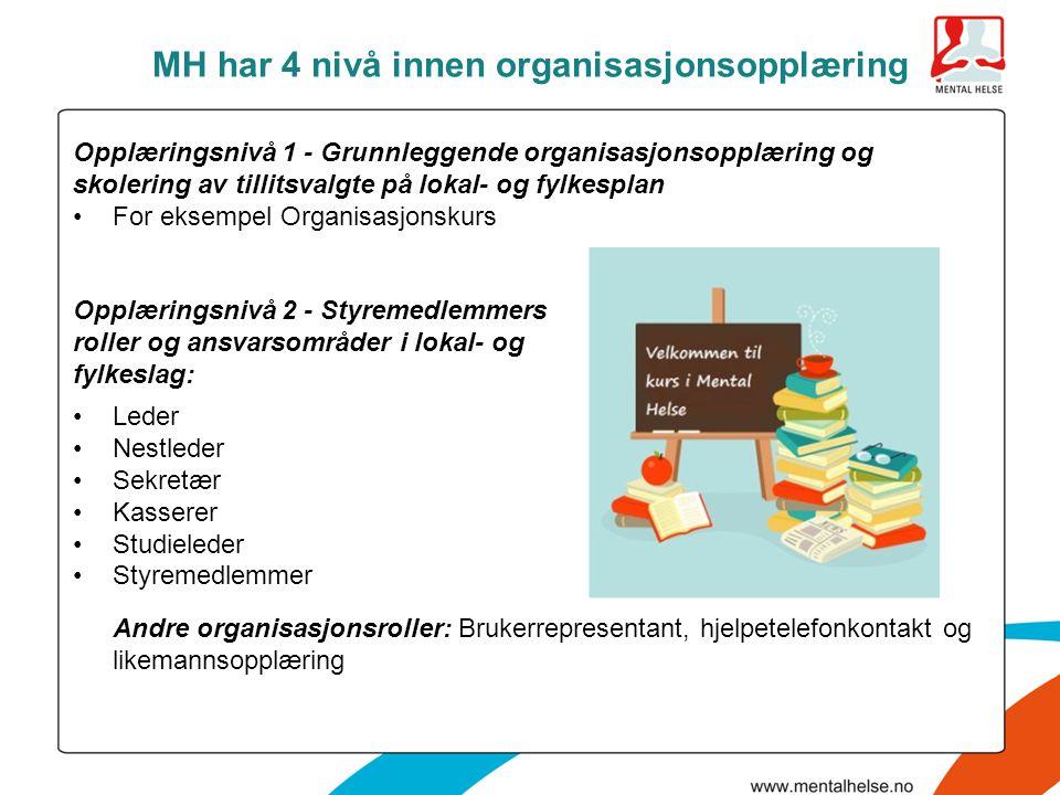 MH har 4 nivå innen organisasjonsopplæring •Leder •Nestleder •Sekretær •Kasserer •Studieleder •Styremedlemmer Andre organisasjonsroller: Brukerreprese