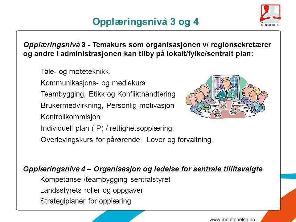Opplæringsnivå 3 og 4 Opplæringsnivå 4 – Organisasjon og ledelse for sentrale tillitsvalgte Kompetanse-/teambygging sentralstyret Landsstyrets roller